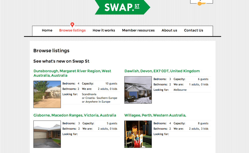 Home swap listings